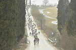 The peleton hit the white dirt roads of Tuscany during the 2018 Strade Bianche Men Elite NamedSport race running 184km from Siena to Siena, Tuscany, Italy. 3rd March 2018.<br /> Picture: LaPresse/Fabio Ferrari | Cyclefile<br /> <br /> <br /> All photos usage must carry mandatory copyright credit (© Cyclefile | LaPresse/Fabio Ferrari)
