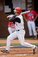 Sean O'Hare #3 of the St. John's Red Storm follows through on his swing against the Ole Miss Rebels at the Charlottesville Regional of the 2010 College World Series at Davenport Field on June 6, 2010, in Charlottesville, Virginia.  The Red Storm defeated the Rebels 20-16.  Photo by Brian Westerholt / Four Seam Images