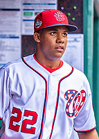 20 May 2018: Washington Nationals outfielder Juan Soto arrives in the dugout prior to his first Major League appearance against the Los Angeles Dodgers at Nationals Park in Washington, DC. The Dodgers defeated the Nationals 7-2, sweeping their 3-game series. Mandatory Credit: Ed Wolfstein Photo *** RAW (NEF) Image File Available ***