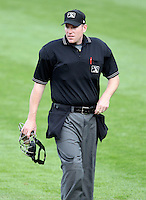 Home plate umpire Chris Conroy during a game between the Rochester Red Wings and Norfolk Tides at Frontier Field in Rochester, New York;  May 31, 2010.   Norfolk defeated Rochester by the score of 2-1.  Photo By Mike Janes/Four Seam Images