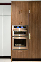 Wooden cupboards with built in electrical appliances
