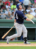 Outfielder Jared Simon (26) of the Asheville Tourists, a Colorado Rockies affiliate, in a game against the Greenville Drive on May 14, 2012, at Fluor Field at the West End in Greenville, South Carolina. Asheville won, 11-6. (Tom Priddy/Four Seam Images).