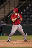 AZL Angels catcher David Clawson (7) at bat during an Arizona League game against the AZL Padres 2 at Tempe Diablo Stadium on July 18, 2018 in Tempe, Arizona. The AZL Padres 2 defeated the AZL Angels 8-1. (Zachary Lucy/Four Seam Images)