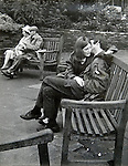 Couples young and old. Bristol Somerset UK. Taken while a student at Sidcot School Somerset. Circa 1965. Probably my first street photographs. Taken at the top of the historic Christmas Steps.