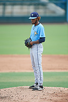 Tampa Bay Rays pitcher Miguel Lara (85) gets ready to deliver a pitch during an Instructional League game against the Baltimore Orioles on October 5, 2017 at Ed Smith Stadium in Sarasota, Florida.  (Mike Janes/Four Seam Images)