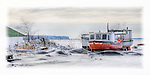 Panorama of red fishing boat on snow covered beach in Cornucopia, WI on Lake Superior.