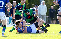 Saturday 10th October 2020 | Ballynahinch vs Queens<br /> <br /> Thomas Donnan is tackled by Griffin Phillipson during the Energia Community Series clash between Ballynahinch and Queens at Ballymacarn Park, Ballynahinch, County Down, Northern Ireland. Photo by John Dickson / Dicksondigital