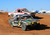 Apr 17, 2011; Surprise, AZ USA; LOORRS driver Cameron Steele (16) leads Rodrigo Ampudia (36) during round 4 at Speedworld Off Road Park. Mandatory Credit: Mark J. Rebilas-