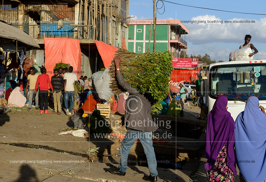 ETHIOPIA , Oromia, Alem Maya, chewing drug khat market, somali women sell fresh harvested khat leaves at the road, the khat is grown in the surounding villages / AETHIOPIEN, Oromia, Alem Maya, Markt fuer die Kaudroge Khat, die in den umliegenden Doerfern angebaut wird, Somali Frauen verkaufen frisch geerntete Kat Blaetter