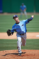 Charlotte Stone Crabs relief pitcher Kyle Bird (17) delivers a pitch during a game against the Clearwater Threshers on April 13, 2016 at Bright House Field in Clearwater, Florida.  Charlotte defeated Clearwater 1-0.  (Mike Janes/Four Seam Images)