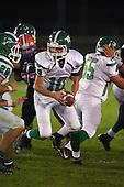 Pembroke Dragons quarterback Reid Miano (10) drops back against the Attica Blue Devils at Attica Central School on September 11, 2015 in Attica, New York.  Attica defeated Pembroke 36-0.  (Copyright Mike Janes Photography)