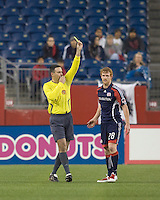 New England Revolution defender Pat Phelan (28) gets a yellow card in the first half from Shane Moody. The New England Revolution tied the Colorado Rapids, 1-1, at Gillette Stadium on May 16, 2009.