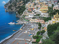 Bird eye's view of Positano, Italy.