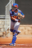 GCL Mets catcher Juan Uriarte (17) during the first game of a doubleheader against the GCL Astros on August 5, 2016 at Osceola County Stadium Complex in Kissimmee, Florida.  GCL Astros defeated the GCL Mets 4-1 in the continuation of a game started on July 21st and postponed due to inclement weather.  (Mike Janes/Four Seam Images)