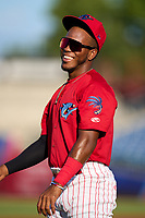 Clearwater Threshers shortstop Luis García (5) during warmups before a game against the Tampa Tarpons on June 10, 2021 at BayCare Ballpark in Clearwater, Florida.  (Mike Janes/Four Seam Images)