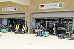 The pit area of the track gets ready for action before the Formula 1 United States Grand Prix practice session at the Circuit of the Americas race track in Austin,Texas.