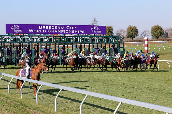 November 6, 2020: Horses race during the Juvenile Turf Sprint on Breeders' Cup Championship Friday at Keeneland on November 6, 2020: in Lexington, Kentucky. Matt Wooley/Eclipse Sportswire/Breeders Cup/CSM