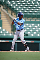Tampa Bay Rays Adrian Rondon (3) at bat during an Instructional League game against the Baltimore Orioles on October 2, 2017 at Ed Smith Stadium in Sarasota, Florida.  (Mike Janes/Four Seam Images)