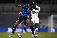 16th March 2021; Madrid, Spain; during the Champions League match, round of 16, between Real Madrid and Atalanta;  Duvan Zapata and Ferlan Mendy