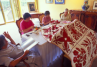 Women stitching Hawaiian quilts at Parker Ranch historical home on the Big island of Hawaii