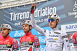 Maglia Bianca Mattia Bais (ITA) and Androni Giocattoli-Sidermec at sign on before the start of Stage 2 of Tirreno-Adriatico Eolo 2021, running 202km from Camaiore to Chiusdino, Italy. 11th March 2021. <br /> Photo: LaPresse/Gian Mattia D'Alberto | Cyclefile<br /> <br /> All photos usage must carry mandatory copyright credit (© Cyclefile | LaPresse/Gian Mattia D'Alberto)