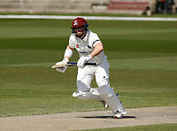 16th April 2021; Emirates Old Trafford, Manchester, Lancashire, England; English County Cricket, Lancashire versus Northants; Ben Curran of Northamptonshire takes runs