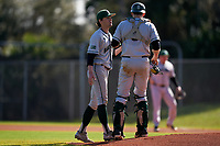 Dartmouth Big Green pitcher Justin Murray (5) talks with catcher Ben Rice (9) during a game against the Omaha Mavericks on February 23, 2020 at North Charlotte Regional Park in Port Charlotte, Florida.  Dartmouth defeated Omaha 8-1.  (Mike Janes/Four Seam Images)