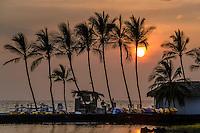 Resort guests enjoy the setting sun in the Waikoloa area of the Kohala District, Big Island of Hawai'i.