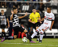Orlando, FL - Saturday Jan. 21, 2017: Corinthians midfielder Gabriel (5) and São Paulo midfielder Cueva (10) challenge for a ball during the second half of the Florida Cup Championship match between São Paulo and Corinthians at Bright House Networks Stadium. The game ended 0-0 in regulation with São Paulo defeating Corinthians 4-3 on penalty kicks