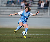 Kealia Ohai (7) of North Carolina controls the ball during the game at the Maryland SportsPlex in Boyds, MD.  The Washington Spirit defeated the North Carolina Tar Heels in a preseason exhibition, 2-0.