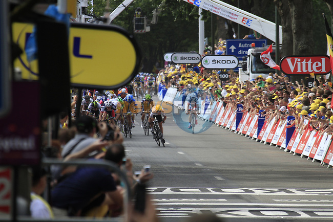 World Champion Mark Cavendish (GBR) Sky Procycling wins the sprint finish with Andre Greipel (GER) Lotto-Belisol 2nd place and Mathew Harley Goss (AUS) Orica-GreenEdge in 3rd  at the end of Stage 2 of the 99th edition of the Tour de France 2012, running 207.5km from Vise to Tournai, Belgium. 2nd July 2012.<br /> (Photo by Eoin Clarke/NEWSFILE)