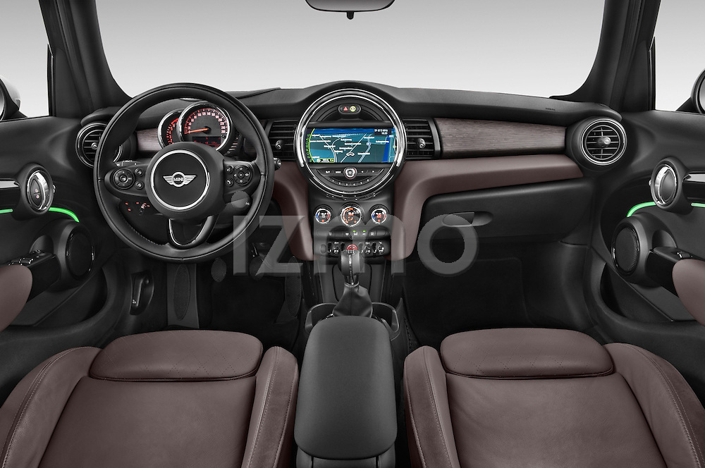 Stock photo of straight dashboard view of a 2015 MINI Mini Cooper 5 Door Hatchback 2WD Dashboard