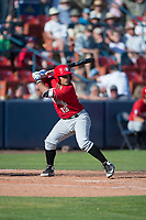 Vancouver Canadians catcher Yorman Rodriguez (13) at bat during a Northwest League game against the Spokane Indians at Avista Stadium on September 2, 2018 in Spokane, Washington. The Spokane Indians defeated the Vancouver Canadians by a score of 3-1. (Zachary Lucy/Four Seam Images)