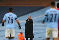 10th January 2021; Etihad Stadium, Manchester, Lancashire, England; English FA Cup Football, Manchester City versus Birmingham City; Manchester City manager Pep Guardiola issues instructions from the touchline