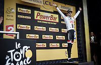 stage 9 winner Tom Dumoulin (NLD/Giant-Alpecin) on the podium<br /> <br /> finish of stage 9 in Andorra Arcalis (coming from Velha Val d'Aran/ESP, 184km)<br /> 103rd Tour de France 2016