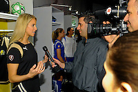 FC Gold Pride player Leslie Osborne is interviewed during the unveiling of the Women's Professional Soccer uniforms at the Event Place in Manhattan, NY, on February 24, 2009. Photo by Howard C. Smith/isiphotos.com