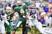 TCU cornerback Ranthony Texada (11) breaks up a pass intended for Baylor wide receiver Jay Lee (4) during an NCAA football game, Saturday, October 11, 2014 in Waco, Tex. Baylor defeated TCU 61-58 to remain undefeated in BIG 12 conference. (Mo Khursheed/TFV Media via AP Images)
