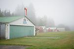 Vashon, Washington:<br /> Vashon Municipal Ariport, hangers in fog