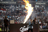 French DJ duo Ofenbach perform before the start of the UEFA Europa League final football match between Olympique de Marseille and Club Atletico de Madrid at the Groupama Stadium in Decines-Charpieu, near Lyon, France, May 16, 2018.<br /> UPDATE IMAGES PRESS/Isabella Bonotto