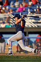 Lowell Spinners shortstop Michael Osinski (29) bats during a game against the Batavia Muckdogs on July 11, 2017 at Dwyer Stadium in Batavia, New York.  Lowell defeated Batavia 5-2.  (Mike Janes/Four Seam Images)