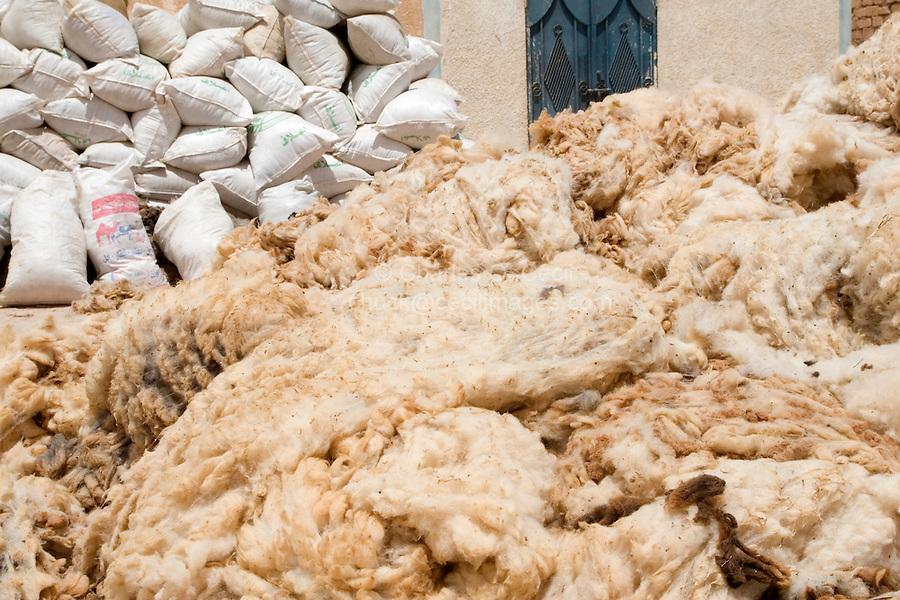 Bir al-Ghanem, south of Tripoli, Libya - Raw, Uncleaned Bags of Wool Awaiting Pick-up