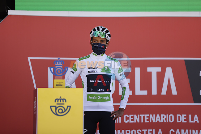 White Jersey Egan Bernal (COL) Ineos Grenadiers at sign on before Stage 4 of La Vuelta d'Espana 2021, running 163.9km from Burgo de Osma to Molina de Aragon, Spain. 17th August 2021.    <br /> Picture: Luis Angel Gomez/Photogomezsport   Cyclefile<br /> <br /> All photos usage must carry mandatory copyright credit (© Cyclefile   Luis Angel Gomez/Photogomezsport)