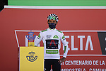 White Jersey Egan Bernal (COL) Ineos Grenadiers at sign on before Stage 4 of La Vuelta d'Espana 2021, running 163.9km from Burgo de Osma to Molina de Aragon, Spain. 17th August 2021.    <br /> Picture: Luis Angel Gomez/Photogomezsport | Cyclefile<br /> <br /> All photos usage must carry mandatory copyright credit (© Cyclefile | Luis Angel Gomez/Photogomezsport)