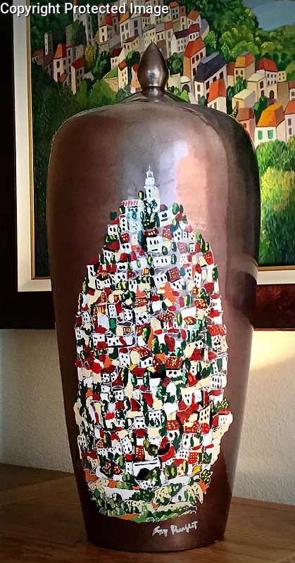 """""""Grasse""""<br /> <br /> Gorgeous bronze glazed pot with lid, hand painted with automotive enamel. Reflective and eye catching, this stunning, one of a kind statement piece will be front and center in your space.<br /> <br /> 25"""" x 10""""<br /> $5,500"""
