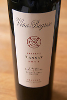 A bottle of Vina Progreso Reserve Tannat 2002 from the Familia Pisano in Uruguay. Bodega Pisano Winery, Progreso, Uruguay, South America