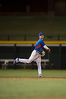 AZL Cubs shortstop Levi Jordan (4) follows through on a throw to first base during an Arizona League game against the AZL Brewers at Sloan Park on June 29, 2018 in Mesa, Arizona. The AZL Cubs 1 defeated the AZL Brewers 7-1. (Zachary Lucy/Four Seam Images)