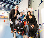 The Canadian Paralympic Committee cross country tour stops to meet students at St. Vincent de Paul school in Calgary, Alberta on Janyary 19, 2016.  Chantal Petitclerc meets with Mark Starratt and his son Alex.