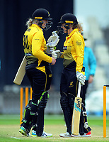 Wellington's Rebecca Burns and Jess McFadyen during the women's Hallyburton Johnstone Shield cricket match between the Wellington Blaze and Auckland Hearts at Basin Reserve in Wellington, New Zealand on Sunday, 17 November 2019. Photo: Dave Lintott / lintottphoto.co.nz