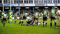Ospreys defend their line during the LV= Cup second round match between Ospreys and Northampton Saints at Riverside Hardware Brewery Field, Bridgend (Photo by Rob Munro)