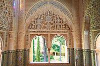 Arabesque Moorish stalactite or morcabe architecture  of the Palacios Nazaries, Alhambra. Granada, Andalusia, Spain.